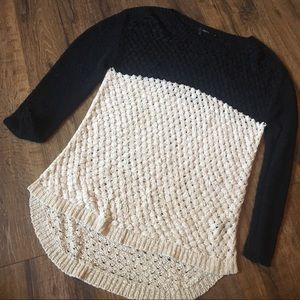 Cream and black woven top